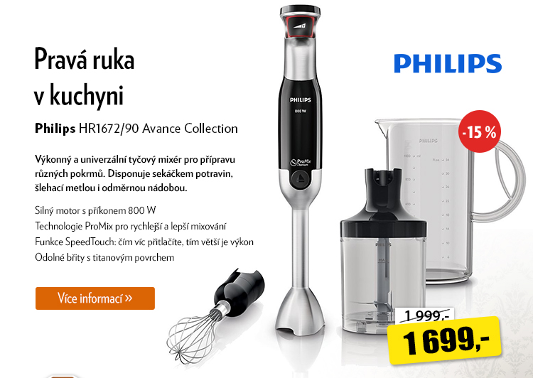 Tyčový mixér Philips HR1672/90 Avance Collection