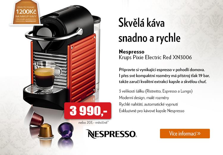 Nespresso Krups Pixie Electric Red XN3006