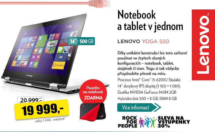 Notebook a tablet v jednom Lenovo Yoga 550
