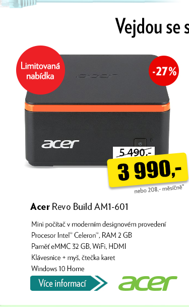 Mini počítač Acer Revo Build AM1-601