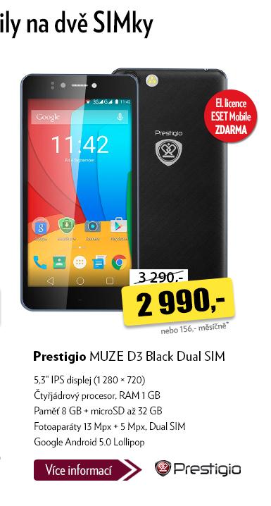 Smartphone Prestigo MUZE D3 Black Dual SIM