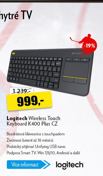 Klávesnice Logitech Wireless Touch K400 Plus CZ