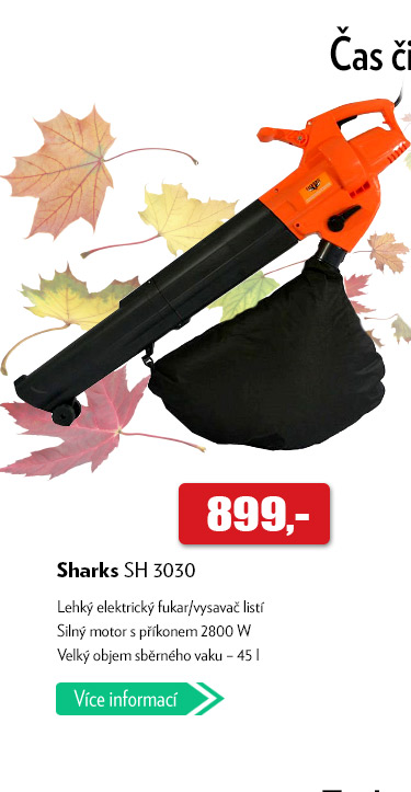 Elektrický fukar na listí Sharks SH 3030