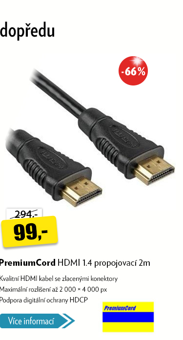 HDMI kabel PremiumCord propojovací 2m