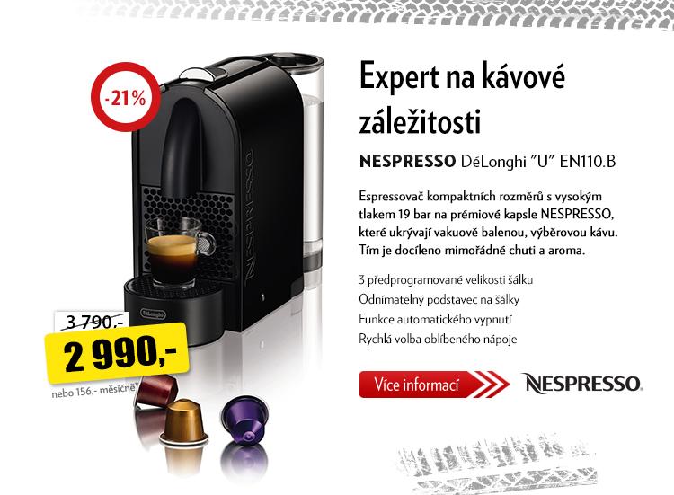 """Kávovar NESPRESSO DéLonghi """"U"""" EN110.B"""
