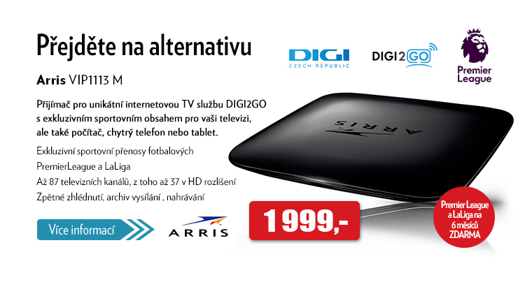 přijímač Arris VIP1113 M pro internetovou TV službu DIGI2GO
