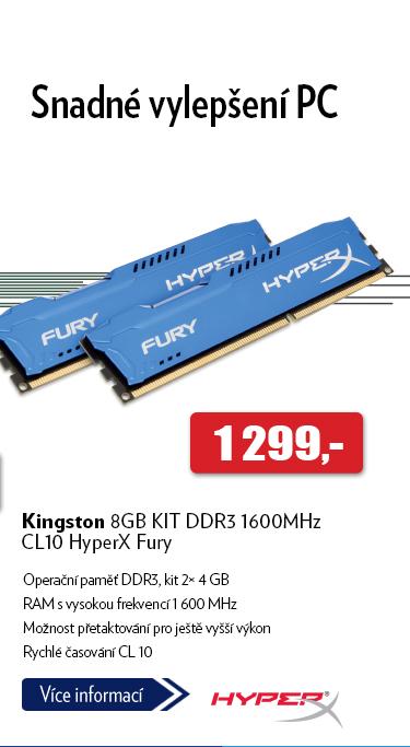 Kingston 8GB KIT DDR3 1600MHz CL10 HyperX Fury