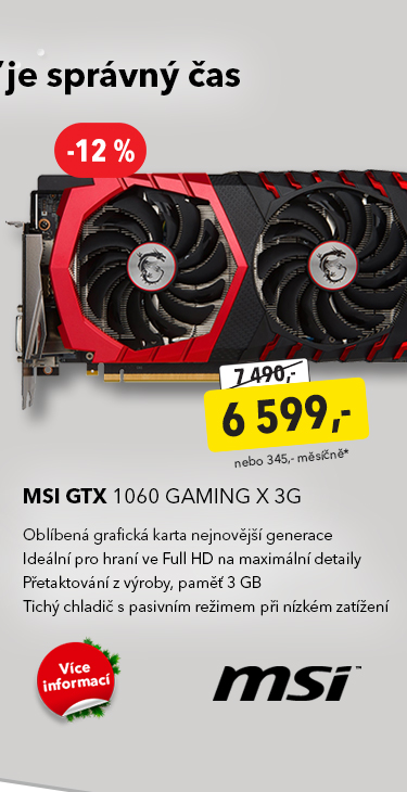 Grafická karta MSI GTX 1060 Gaming