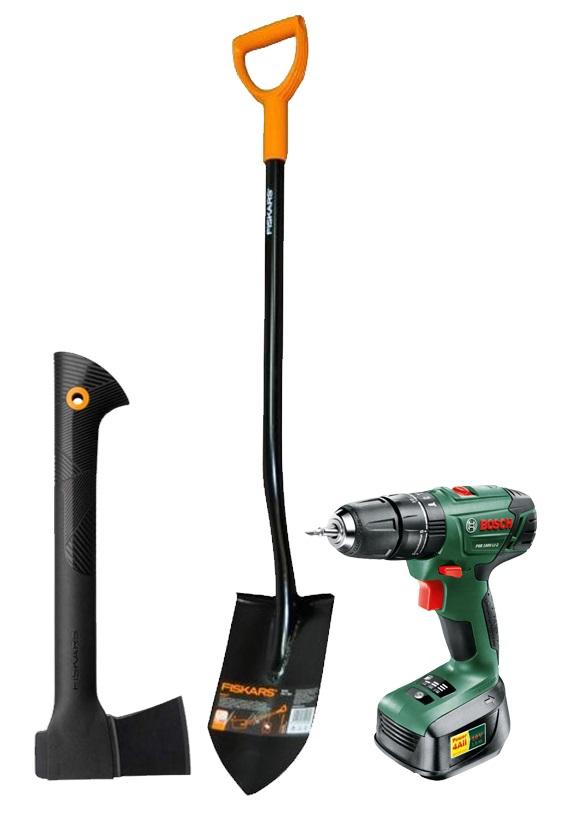 present for grandpa; tools; handyman; Bosch PSB 1440 Li-2; Fiskars Solid 131413; Fiskars Solid universal S 121220