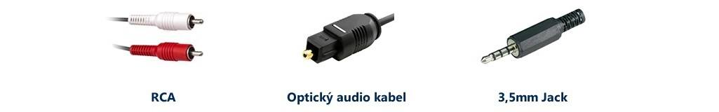 RCA, 3.5mm jack and an optical audio cable