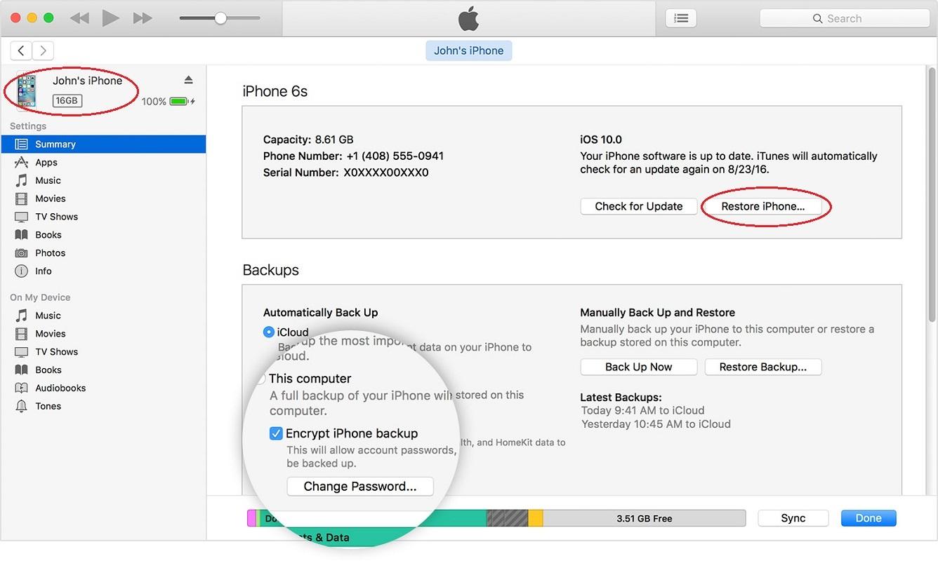 Factory settings iOS iPhone - iTunes