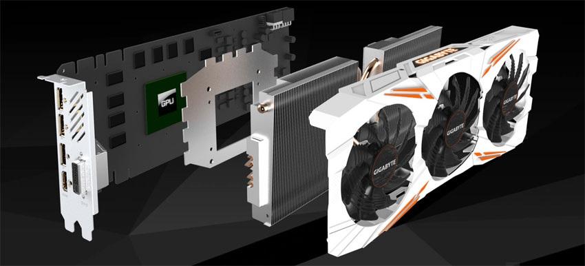 Gigabyte GTX 1080 Ti Gaming OC 11G systém chlazení