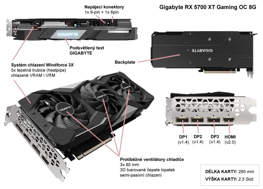 Popis grafické karty Gigabyte RX 5700 XT Gaming OC