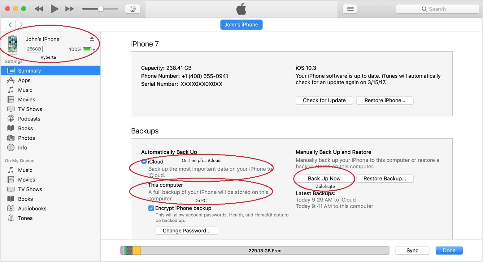 iPhone - iTunes postup