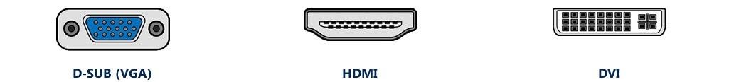 základné konektory monitora s TV tunerom - VGA, DVI, HDMI