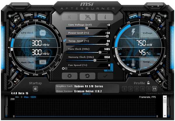 MSI RX 570 Gaming X 4G Afterburner přetaktování