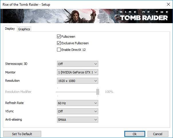 Rise of the Tomb Raider nastavení videa