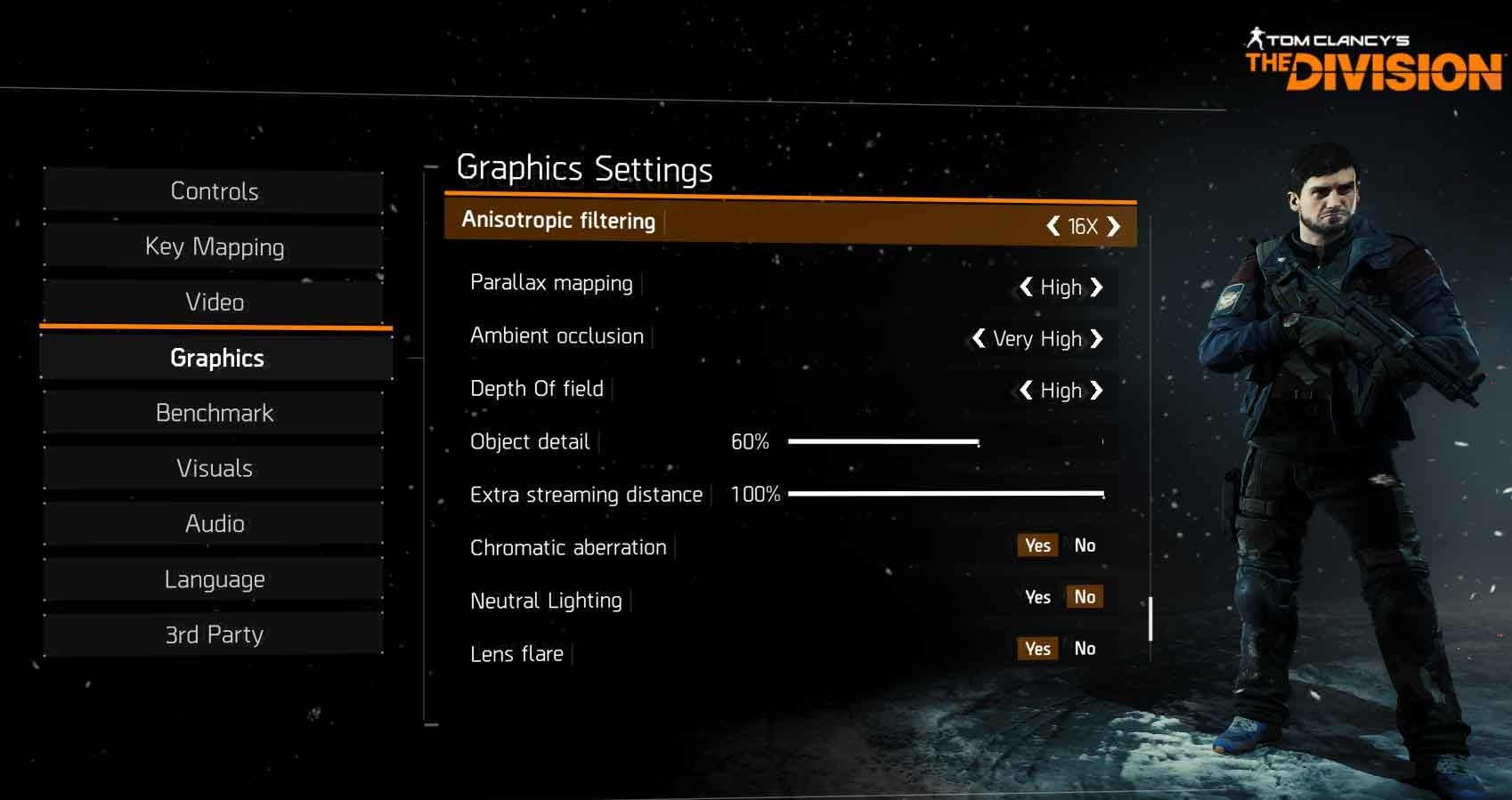 The Division nastavení grafika 3