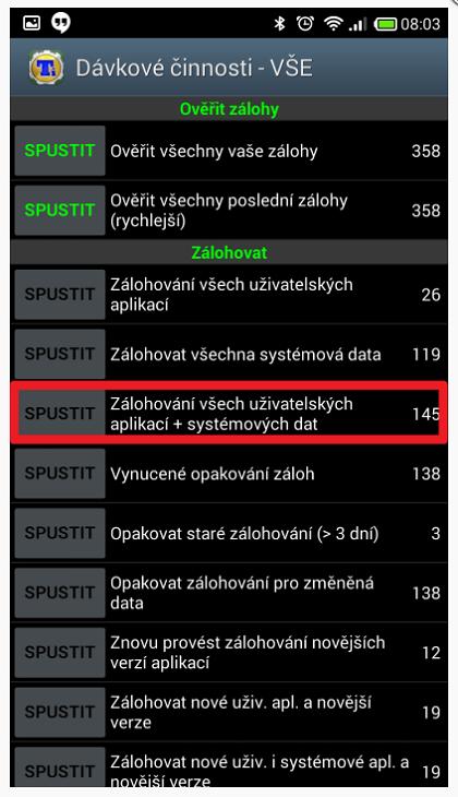 Záloha všech aplikací přes Titanium Backup