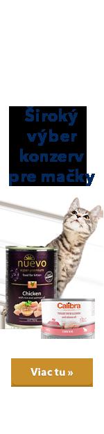 Široký výber konzerv pre mačky