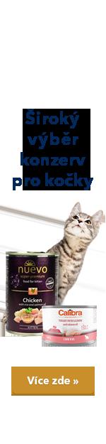 Široký výběr konzerv pro kočky