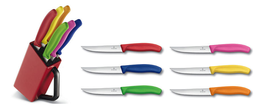 Sada nožů VICTORINOX Blok se steakovými noži steaková, barevná, vlnková čepel, 12cm