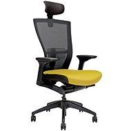 MERENS s podhlavníkem žlutá - Kancelářská židle