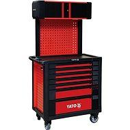 YATO Skříňka dílenská pojízdná 7 zásuvek+pevná záda s vrchní skříňkou, červená - Skříň