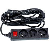 Predlžovací čierny 5 m, 3 zásuvky, vypínač