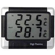 CARPOINT Teploměr digitalní In-Out s hodinami černá/střbrná - Teploměr