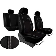SIXTOL Leather Car Seat Covers with Alcantara EXCLUSIVE Black