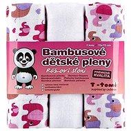 T-tomi Pleny bambusové 3 ks - růžoví sloni - Dětské pleny