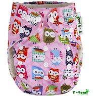 T-tomi Bambusová kalhotková plena AlO růžová sova + 2 bambusové vkládací pleny - Dětské pleny