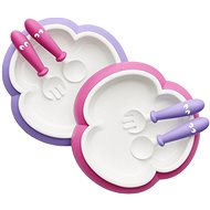 Babybjörn Talířek s příborem 2 ks růžová/fialová - Jídelní sada pro děti