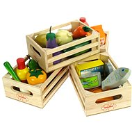 Set of wooden healthy food in boxes