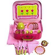 Ružový kvetinkový čajový set v kufríku