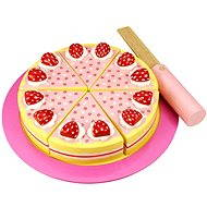 Wooden cutting cake with strawberries
