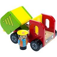 Drevené autíčko - Farebné nákladné auto s vodičom