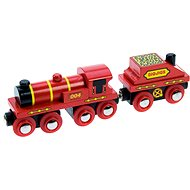 Wooden train sets - red locomotive with tender