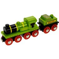 Wooden train sets - Green locomotive with tender