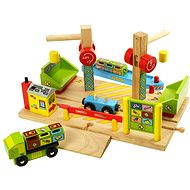 Wooden train sets - Boat dock with cranes