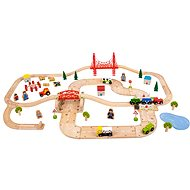 Wooden train set with a country road, 80 parts - Train Set