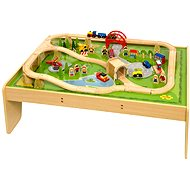 Bigjigs Wooden Train Set and Table - 59 pieces - Railway Set