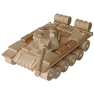 Drevené hračky - prírodný drevený Tank