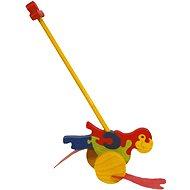 Drevená ťahacie hračka - Plácačka Papagáj - Ťahacia hračka