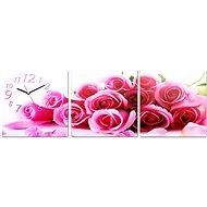 Nástenné hodiny - plátno ruže