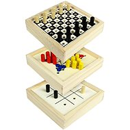 Cestovní společenské hry 3v1 - dřevěné - Sada her
