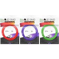 3DSimo Filament PLA II - červená, fialová, zelená 15m - Tisková struna