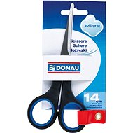 DONAU 14cm Soft Grip black / blue - Office Scissors