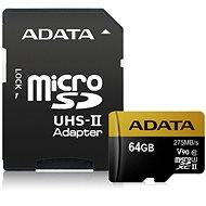 ADATA Premier ONE Micro SDXC 64GB USH-II U3 Class 10 + SD adaptér - Paměťová karta